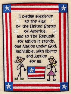 Pledge of Allegiance - Child's Style design (C9017) from www.Emblibrary.com