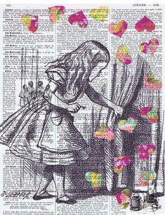 Alice in Wonderland / Antique Book Page by studioflowerpower