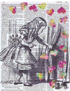 Alice in Wonderland / Antique Book Page by studioflowerpower