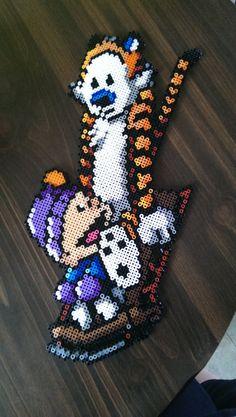 Calvin & Hobbes perler bead art by simplyycrafty