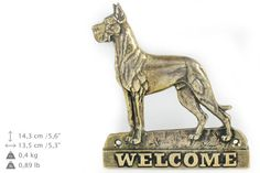 Great Dane cropped dog welcome hanging by ArtDogshopcenter on Etsy