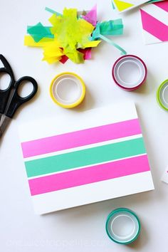 DIY Washi tape cards. Takes less than five minutes and super adorable.