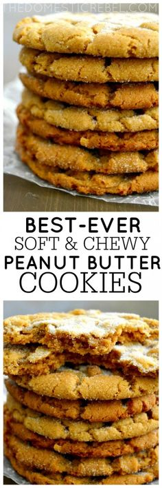These Crisp, Soft & Chewy Peanut Butter Cookies truly are the BEST ever, AND they're gluten-free! (Best Ever Brownies) Gluten Free Baking, Gluten Free Desserts, Gluten Free Recipes, Delicious Desserts, Yummy Food, Yummy Yummy, Healthy Food, Gluten Free Peanut Butter Cookies, Peanut Cookies