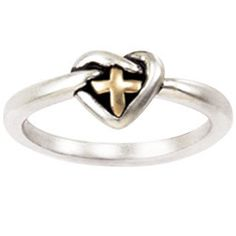 Sterling Silver and 14K Ladies' Ring | Cross Heart Knot