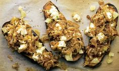 Roasted aubergine with fried onion and chopped lemon