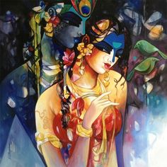 MyIndianArt is one of the best place to buy exclusive Indian Art, sculpture, traditional art, etc. Krishna Painting, Krishna Art, Hare Krishna, Indian Artwork, Indian Paintings, Artist At Work, Online Art Gallery, Painting Inspiration, Female Art