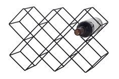 Wijnrek in metaal - Kleur: zwart - B 43 x D 15 x H 28.5 cm - 5,90€ - weba