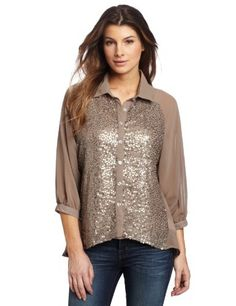 Democracy Women is Front Bodice Sequins Contrast Button Down Shirt, Brown, Large