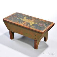 Paint-decorated Stool, Pennsylvania, early 19th century, the rectangular top centering a yellow stag flanked by geometric devices bordered in alternating green and black panels, (imperfections), ht. 7, lg. 15 1/4, dp. 7 in.