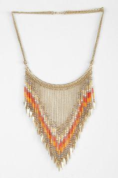 Beaded Points Bib Necklace