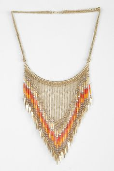 Beaded Points Bib Necklace
