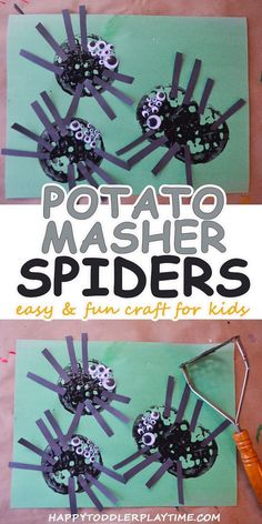 Potato Masher Spider Craft - HAPPY TODDLER PLAYTIME