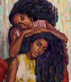 New black art sisters life Ideas Black Love Art, Black Girl Art, Art Girl, Black Girls, Black Women, African American Art, African Art, African Women, Quann Sisters
