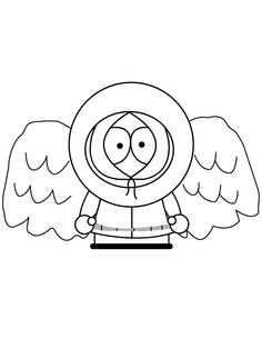 south park kenny with angel wings coloring page free printable