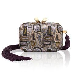 Margo Brocade purple evening bag with tassel. #brocade #clutch #clutchbag #eveningbag #minaudiere #KOTUR #wintersale