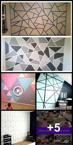 DiY: How to paint a geometric triangle accent wall - Accent Wall Creative Wall Painting, Room Wall Painting, Creative Walls, Room Paint, Painting An Accent Wall, Accent Wall Designs, Bedroom Wall Designs, Accent Wall Bedroom, Paint Accent Walls