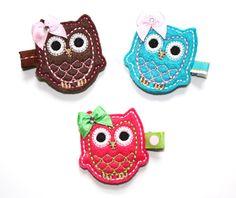 Sale READY TO SHIP Whimsical Felt Owl Hair Bow by ThoseBows