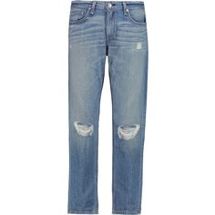 rag & bone - Cropped Distressed Low-rise Boyfriend Jeans ($99) ❤ liked on Polyvore featuring jeans, light denim, cropped jeans, blue jeans, boyfriend cropped jeans, destructed boyfriend jeans and boyfriend jeans
