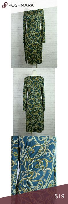 """London Times Green Swirl, long Sleeved midi dress An adorable dark green dress with swirls. Has rouching on right side, long sleeve and side slit. EUC Size 12  :: Approx measurements :: Bust 17.5"""" Length 42"""" London Times Dresses Long Sleeve"""