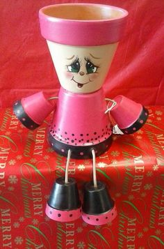 "4"" Pot people girl by crazycraftingfriends on Etsy"