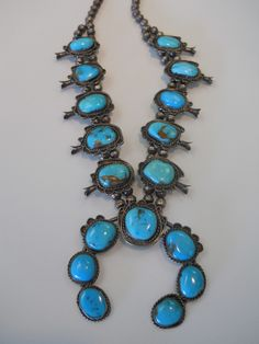 Antique Turquoise Squash Blossom Necklace