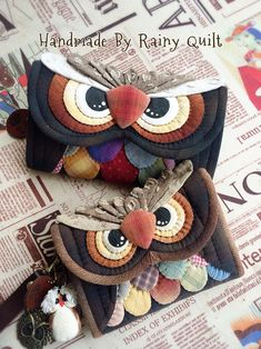 KUFER z artystycznym rękodziełem : Quilt-owe torebki, port Owl Sewing, Sewing Crafts, Sewing Projects, Patchwork Bags, Quilted Bag, Fabric Bags, Felt Fabric, Purse Patterns, Sewing Patterns