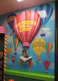 Dimensional mural behind the circulation desk in the children's room of the Eastchester Library, Westchester NY