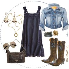 A fashion look from April 2012 featuring Calypso St. Barth dresses, Soul Cal jackets and Old Gringo boots. Browse and shop related looks. Country Girls Outfits, Country Girl Style, Country Fashion, Cowgirl Outfits, My Style, Cowgirl Fashion, Cowgirl Clothing, Cowgirl Dresses, Cowgirl Chic