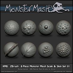 Free ZBrush Brushes! Monster Mash IMM 94 Parts