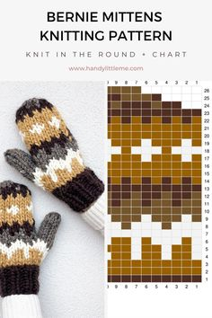 Knitted Mittens Pattern, Knit Mittens, Sweater Knitting Patterns, Crochet Patterns, Knitting Charts, Knitting Stitches, Free Knitting, Knitting Yarn, Knitting Projects