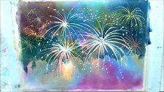 Final step in the fireworks painting tutorial Firework Painting, Kids Watercolor, Firework Drawing, How To Draw Fireworks, Fireworks Art, Chicago Fireworks, Acrylic Painting Techniques, Painting Lessons, Paintings