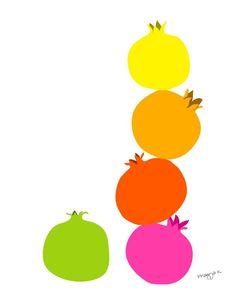 Kitchen art print   Pomegranate   illustration 8x10 by PragyaK, $20.00