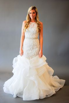 organza and lace mermaid wedding gown
