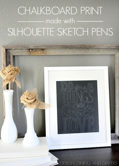 Chalkboard Print Using Silhouette Sketch Pens. Takes 10 minutes! designdininganddiapers.com