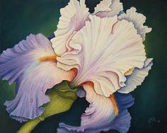 Iris Bloom Painting by Barbara Ann Robertson