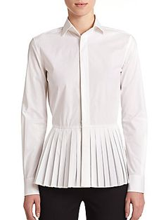 Ralph Lauren Adria Stretch-cotton Peplum Blouse In White Pleated Shirt, Peplum Shirts, Peplum Blouse, Shirt Blouses, Peplum Tops, Ralph Lauren Blouse, Ralph Lauren Black Label, Long Sleeve Peplum Top, Long Sleeve Shirts