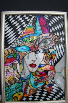 Carnaval original abstract painting on glass vitrail by JOOLFY, $200.00