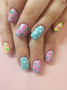Pastel coloured polish with roses and polka dots