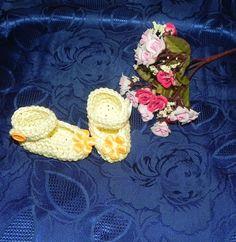 SCARPETTE SCARPINE bimbi FATTE A MANO cotone 100% giallo , by Nuvola rossa, 6,50 € su misshobby.com