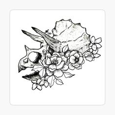 'Triceratop Skull with Flowers' Glossy Sticker by Tribal Tattoos, Deer Skull Tattoos, Skull Tattoo Flowers, Leg Tattoos, Flower Tattoos, Body Art Tattoos, Sleeve Tattoos, Floral Skull Tattoos, T Rex Tattoo