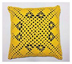 Almofada Crochê Amarela - 40x40cm   casame - arte e decoração   Elo7