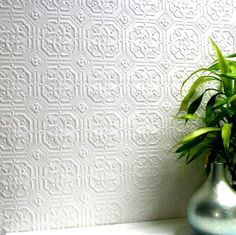 Derby / Classical (RD124) - Anaglypta Wallpapers - An embossed wallcovering suitable for use in areas of high durability. Classic square tiled design with ornate detail.  This wallcovering is white and is designed to be painted a colour of your choice. (wallpaperdirect.com)