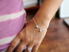 Pearl Bracelet Sterling Silver Monogram Initial by LRoseDesigns