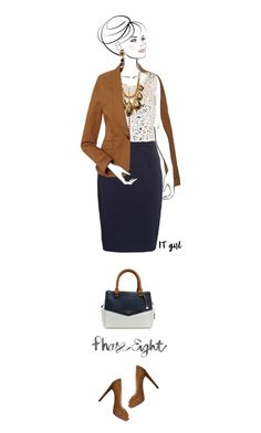 Office outfit: Cognac - Navy -White by downtownblues on Polyvore #officewear  #Sleeveless  #crochet  #colorblock  #peeptoe  #PhaseEight
