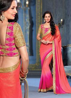 Pink Color Georgette Saree - Rs. 2250.00