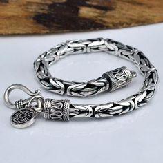 Men's Fine Silver Byzantine Chain Bracelet #Men'sJewelry