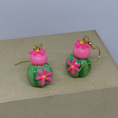 Cacti earrings by DeckedOutJewelry on Etsy