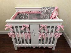 Baby Girl Mini Crib Bedding - Girl Mini Crib Baby Bedding, Pink and Gray Crib Bedding Mini Crib Bedding, Baby Girl Bedding, Crib Bedding Sets, Baby Cribs, Grey Crib, Crib Skirts, Nursing Pillow, A 17, Baby Design