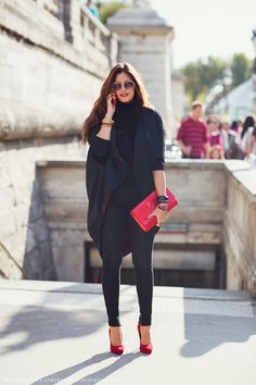 An all black outfit with red accents always works.