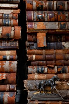 The gorgeous texture of aged books. Antiques and home decor. http://bdantiques.com/